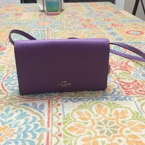 New Coach Hayden foldover crossbody clutch purple
